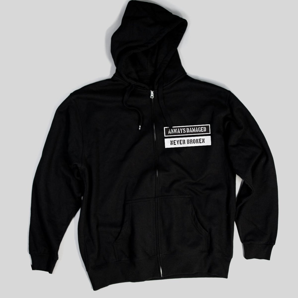 Pimpstar Always Damaged chest logo | Zip Hoodie, Black