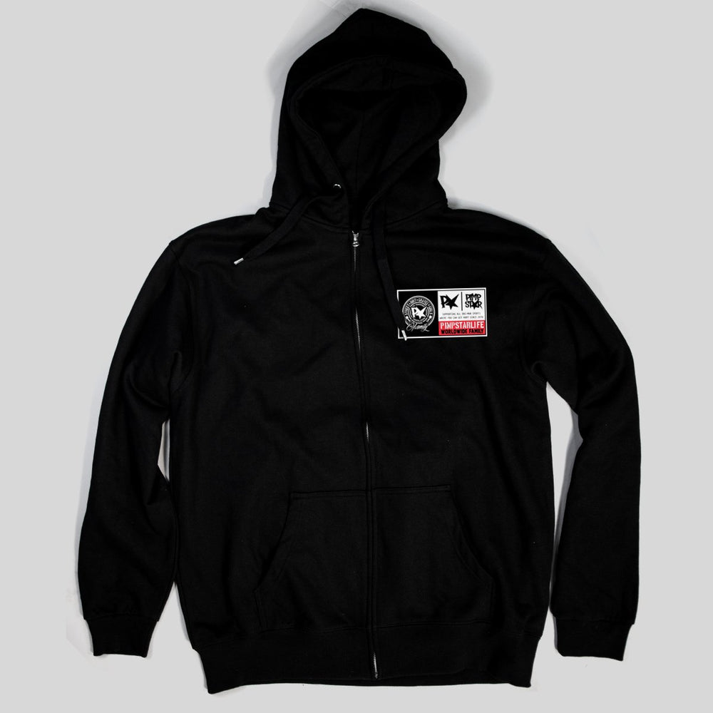 Pimpstar Worldpatch chest logo | Zip Hoodie, Black