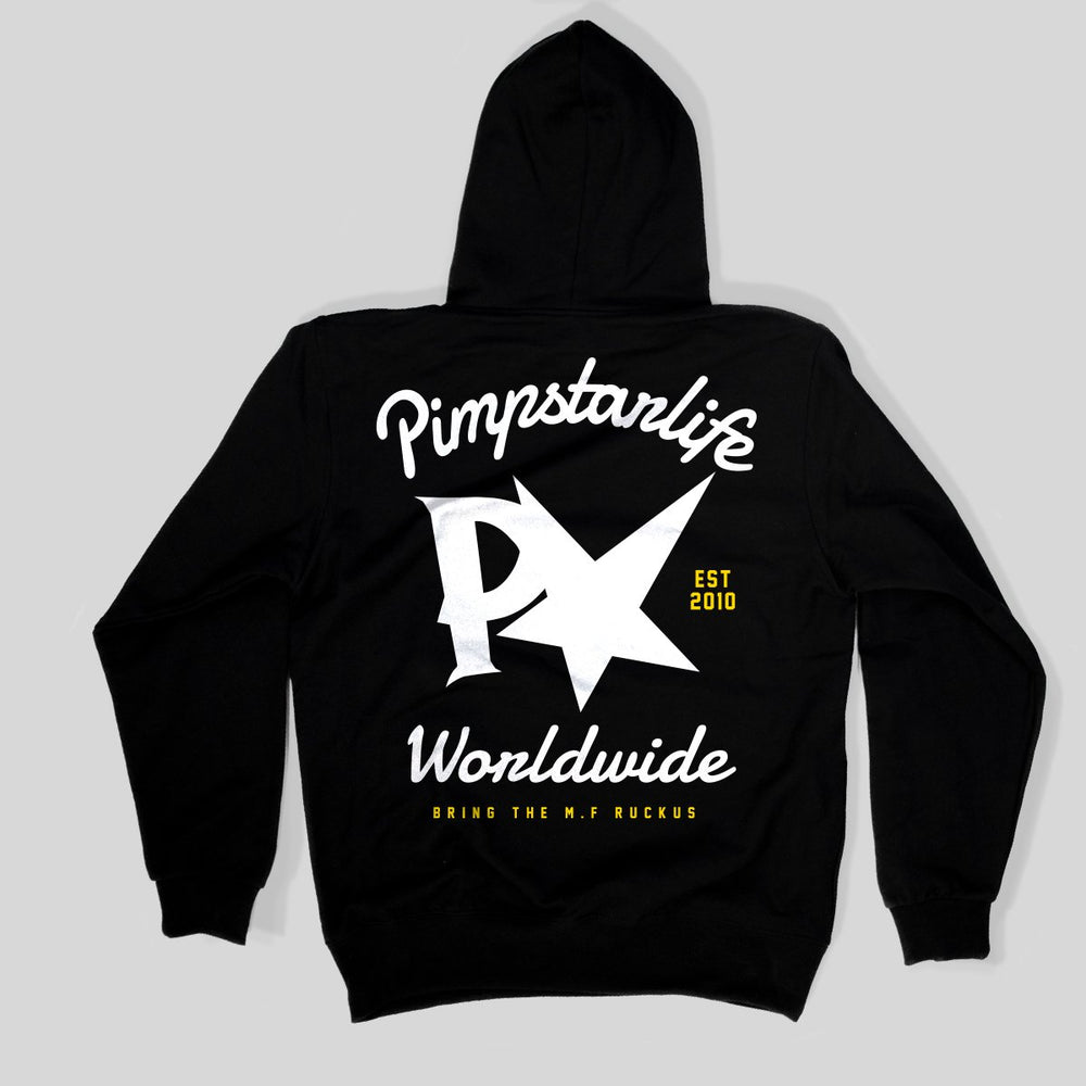 Pimpstar Worldwide Family | Zip Hoodie, Black