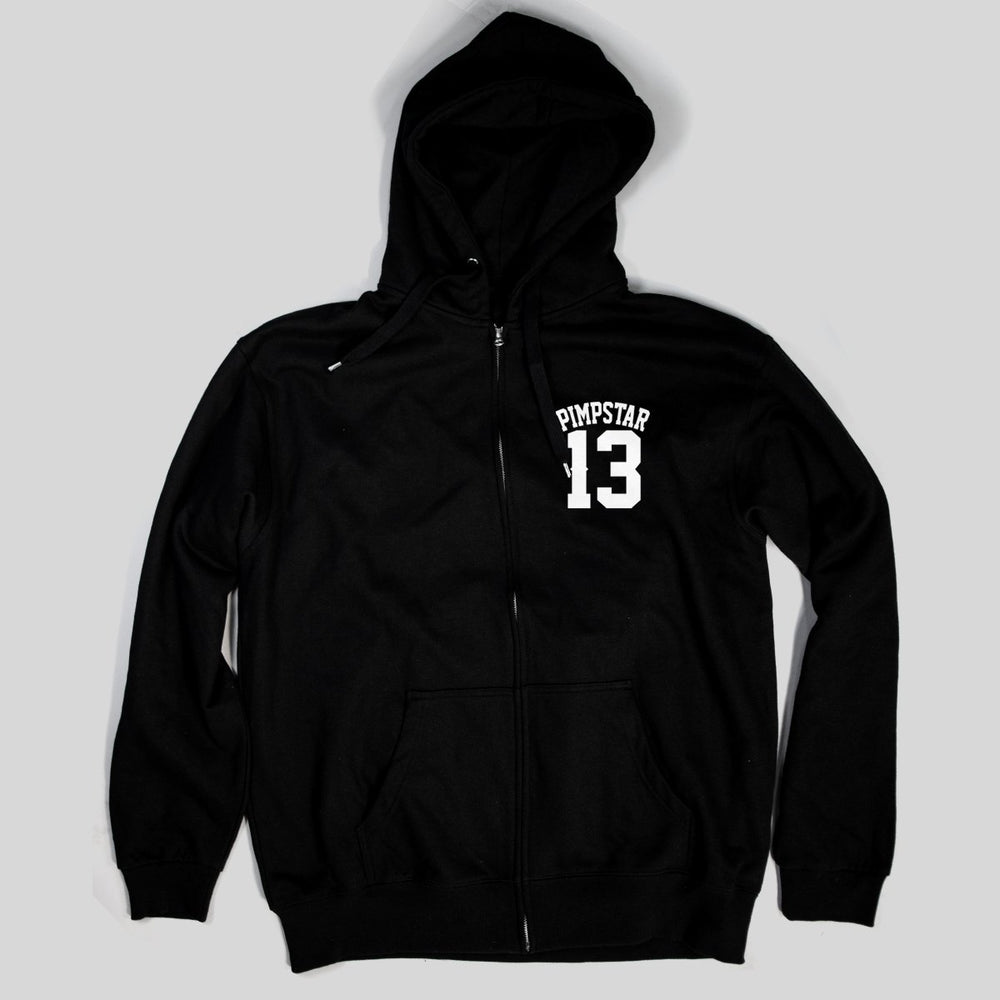 Pimpstar 13 chest logo | Zip Hoodie, Black