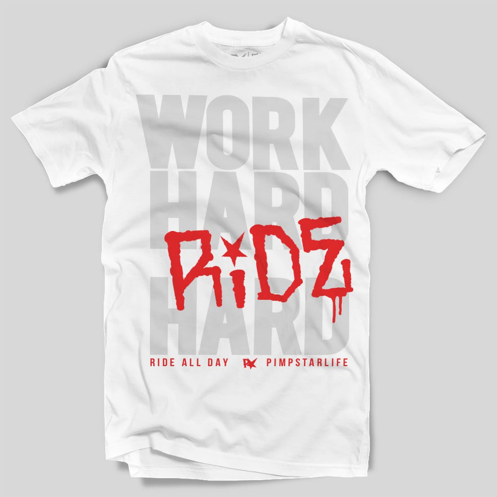 Pimpstar Work Hard | T-shirt, White
