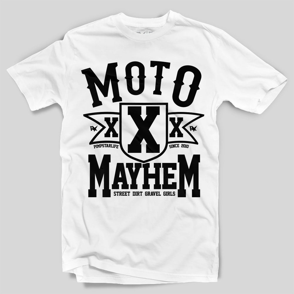 Pimpstar Moto Mayhem | T-shirt, White