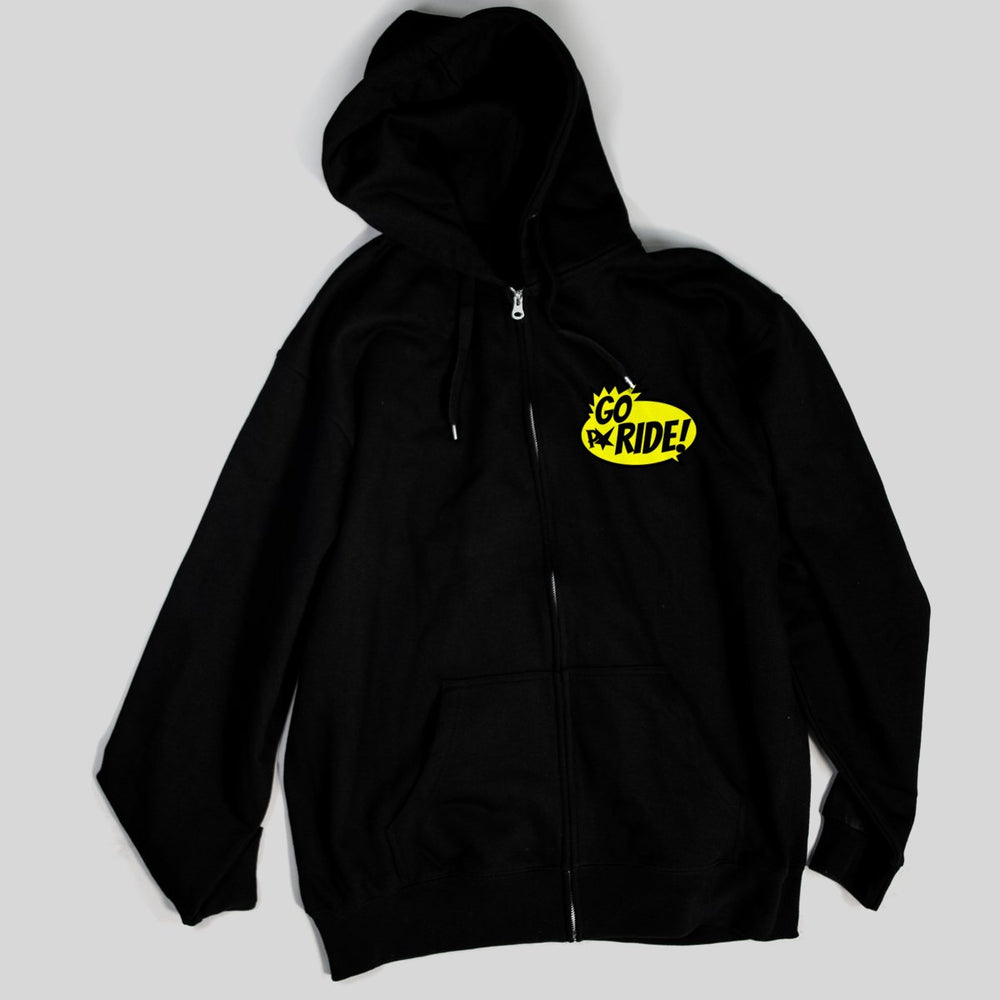 Pimpstar Go Ride chest logo | Zip Hoodie, Black