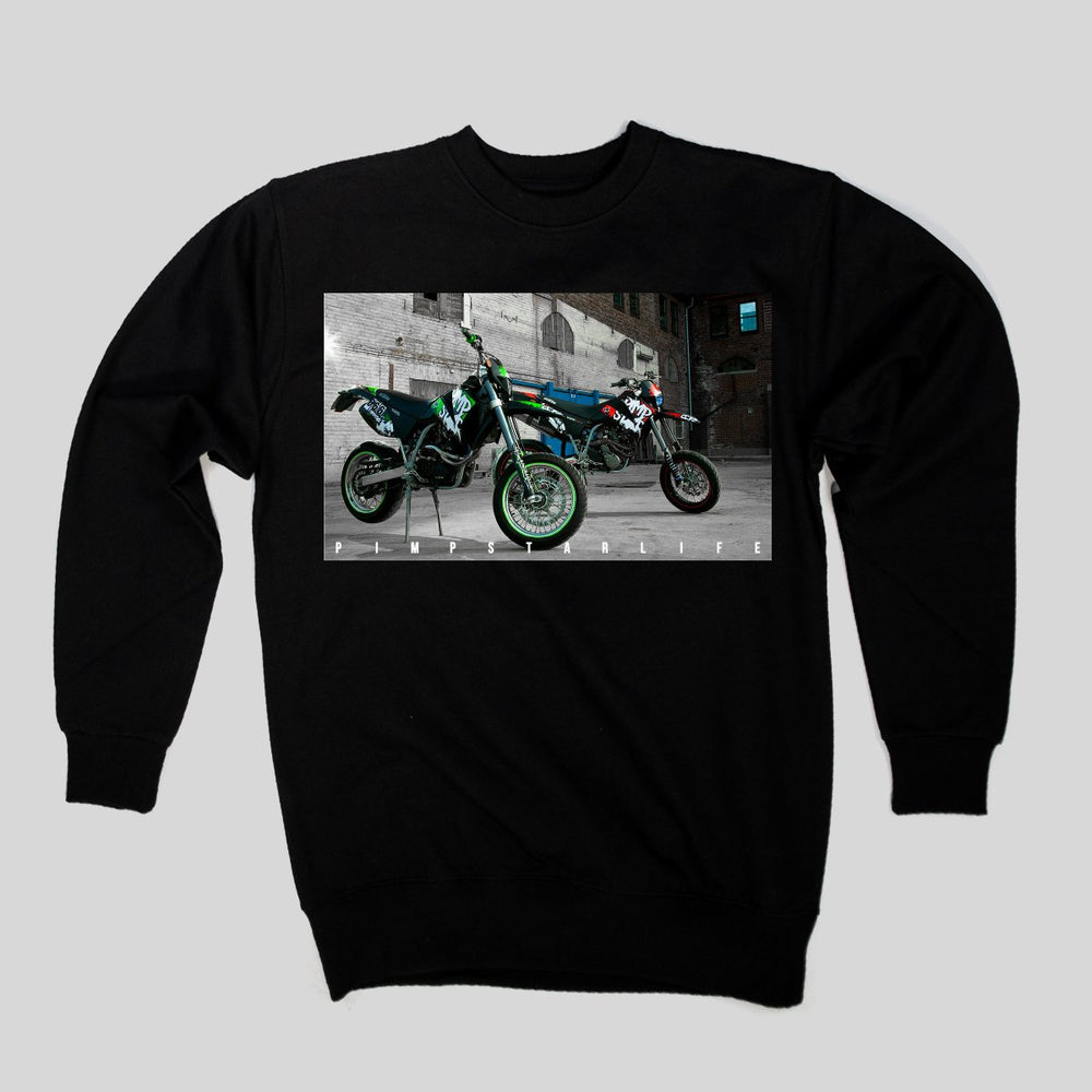 Pimpstar Signature - Two Bikes | Crewneck, Black