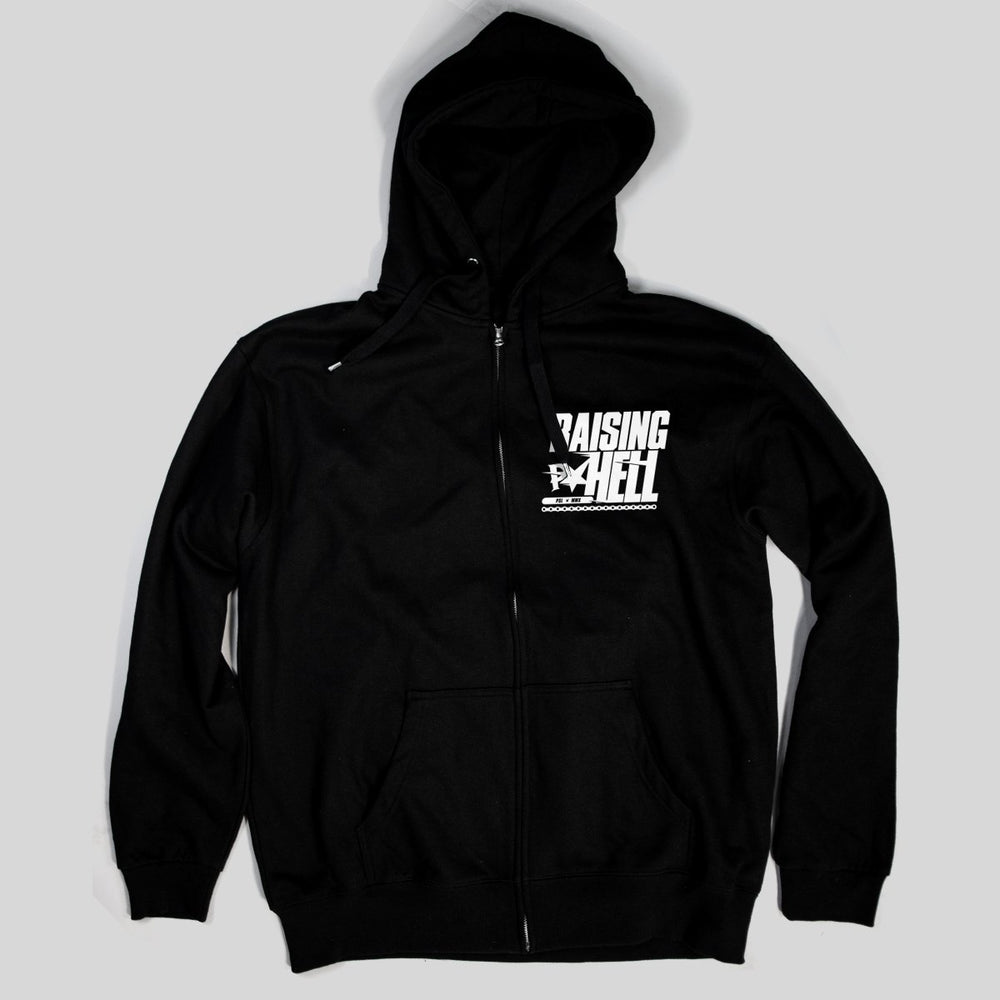 Pimpstar Raising Hell chest logo | Zip Hoodie, Black
