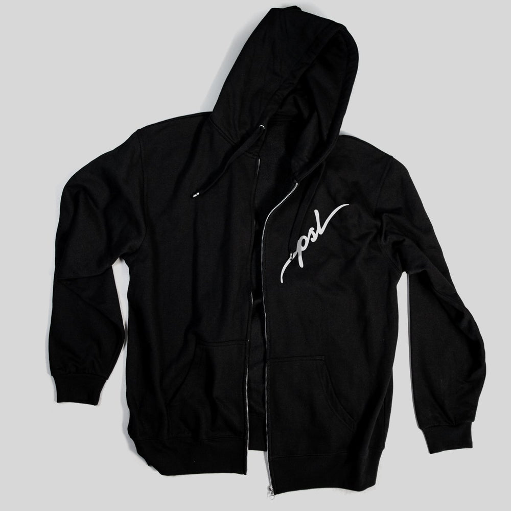 Pimpstar PSL chest logo | Zip Hoodie, Black
