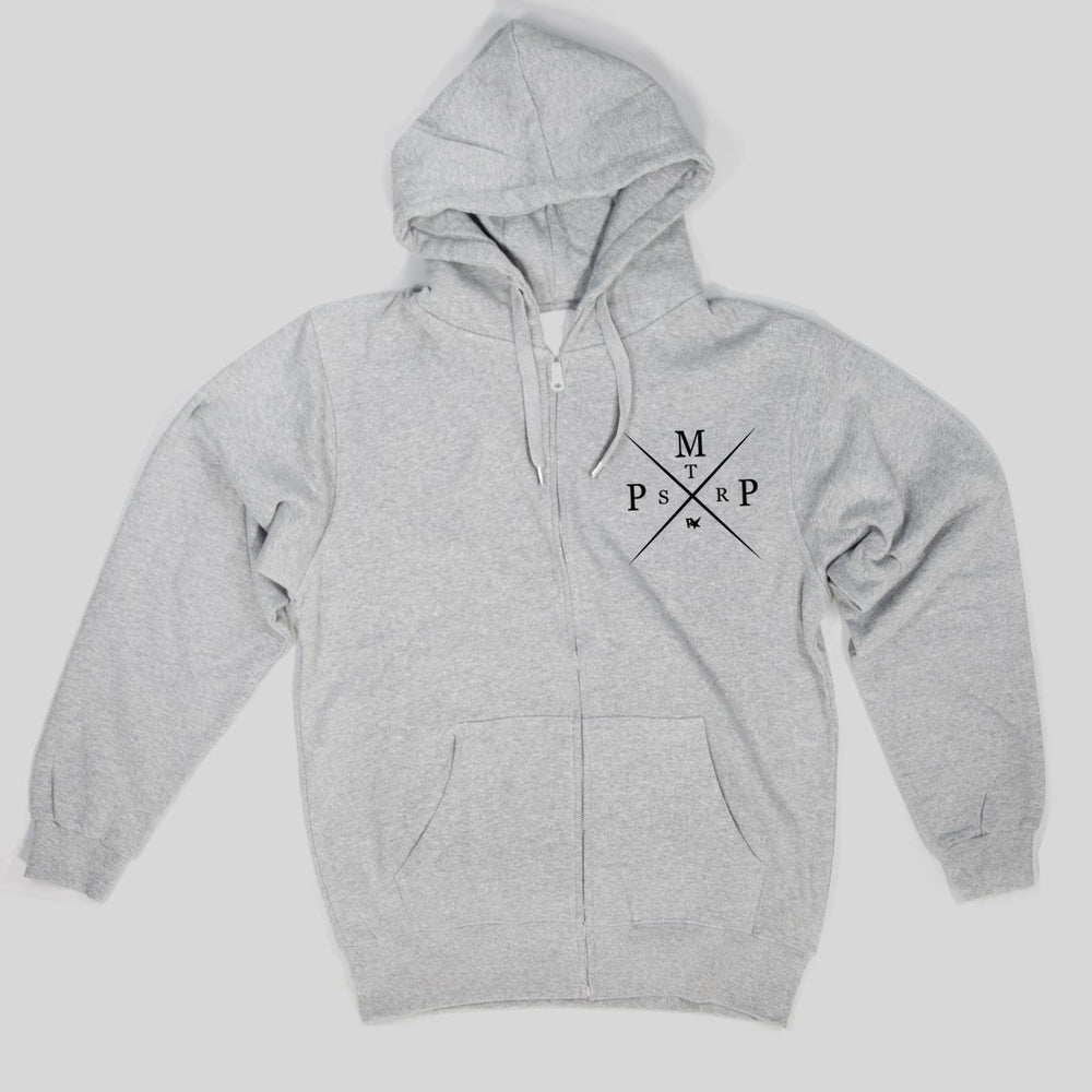 Pimpstar Pmpxstr chest logo | Zip Hoodie, Grey