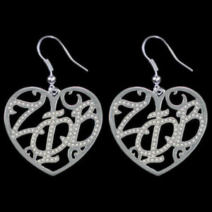 ZPB Clear Crystal Filigree Heart Earrings