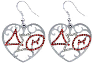 Delta Sigma Theta Silver/Red Crystal Earrings