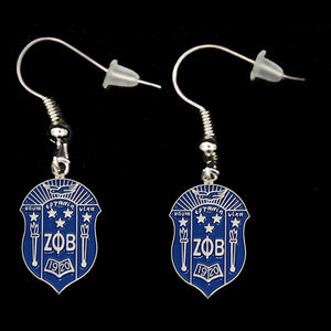Zeta Phi Beta Shield Earrings