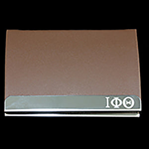 IPT Laser Engraved Business Card Holder - Stainless Steel With Brown Leather