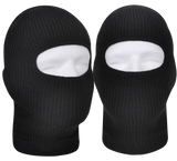 One Hole Black Knit Face Mask