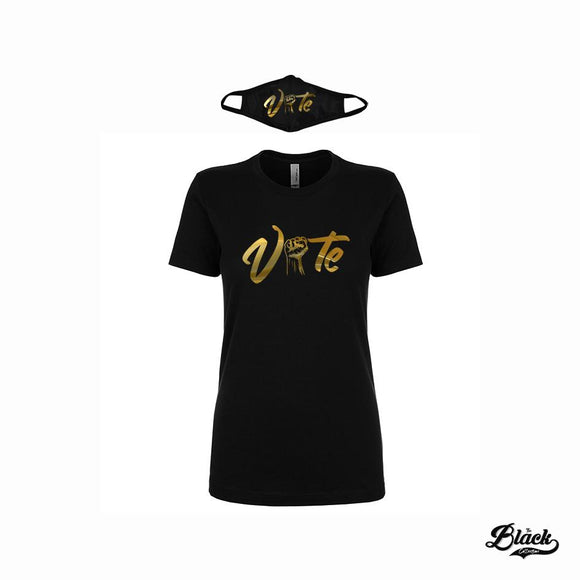 Metallic Gold Vote T-Shirt and Mask Set