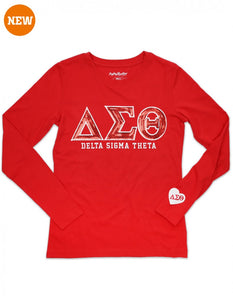 DELTA SIGMA THETA SEQUIN EMBROIDERY COMBO  LONG SLEEVE T-SHIRT