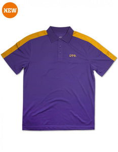 OMEGA PSI PHI GOLD STRIP POLO SHIRT