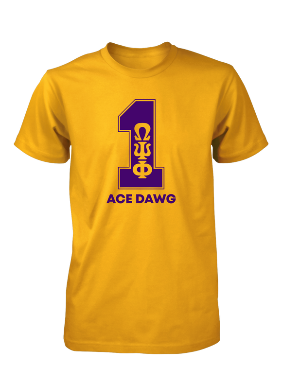 Omega Psi Phi Line Number T-Shirt 1-11 Gold