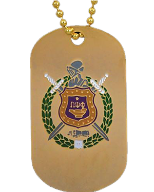 Omega Psi Phi Gold Double-Sided Dogtag W/Chain