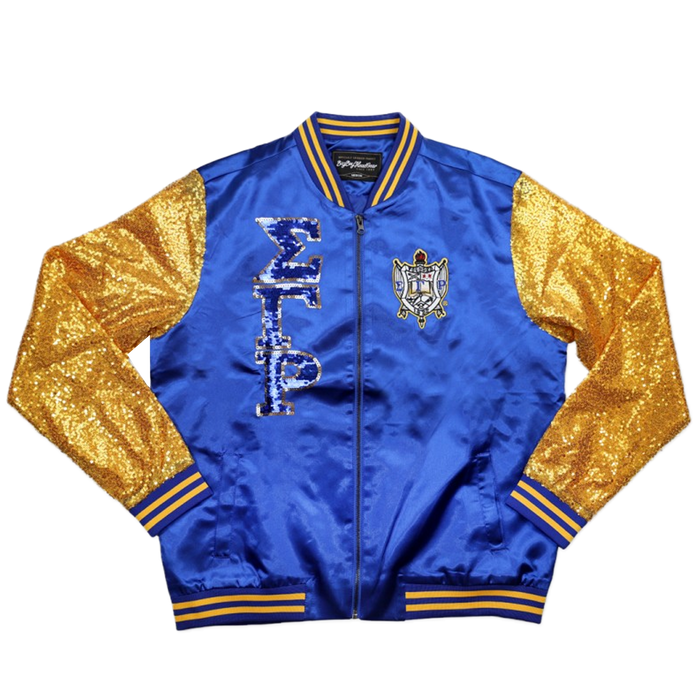 Sigma Gamma Rho Royal/Gold Sequin Varsity Jacket