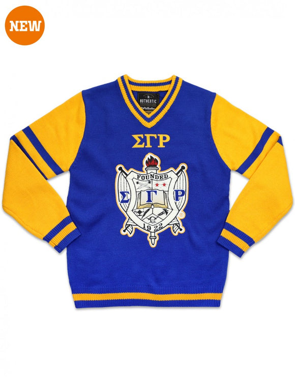 Sigma Gamma Rho Chenille Shield V-neck Sweater
