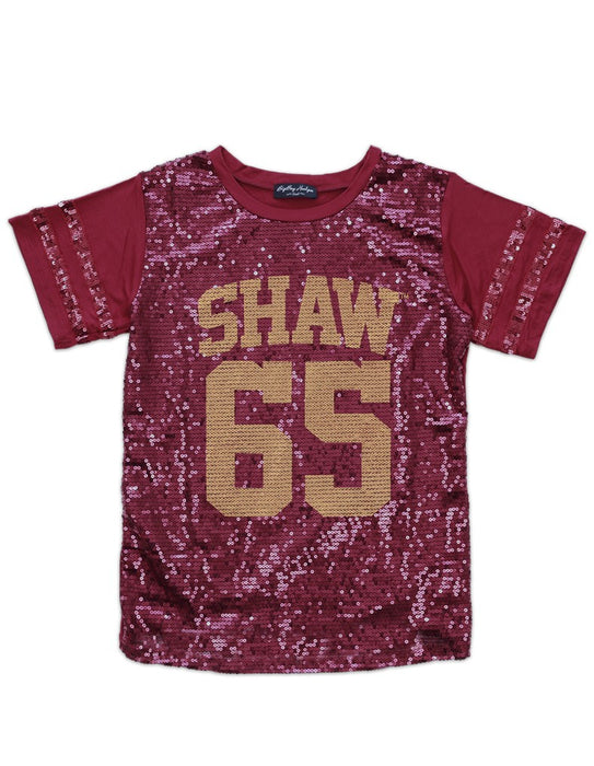Shaw University Maroon 65 Sequin T-shirt
