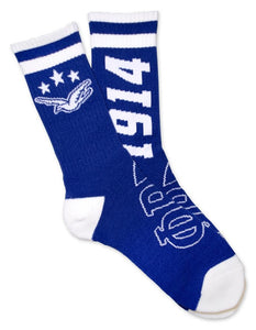Phi Beta Sigma White and Royal Socks