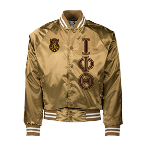 Iota Phi Theta Gold/Brown Satin Baseball Jacket
