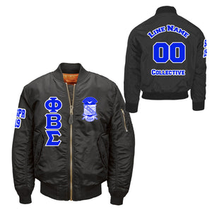 Black Phi Beta Sigma Customizable Flight jacket
