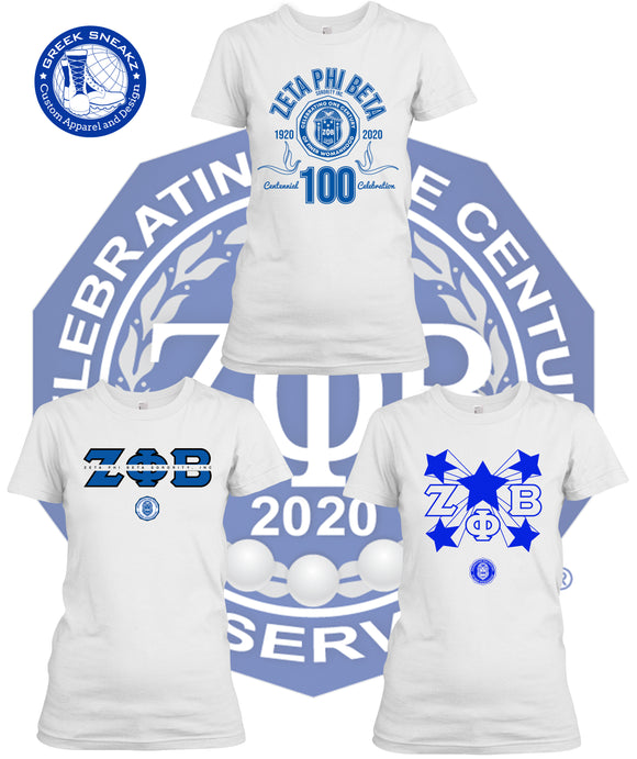 Zeta Phi Beta Greek Sneakz Centennial T-Shirt Package (White)