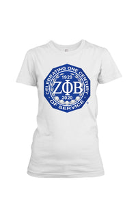 Zeta Phi Beta Centennial Badge T-Shirt (White)