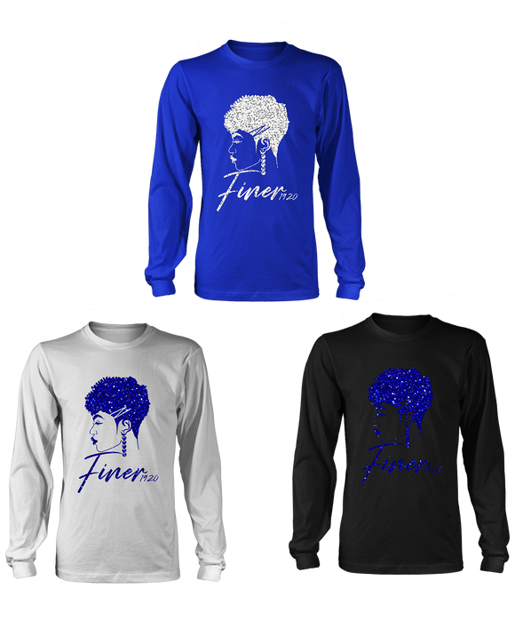 Zeta Phi Beta Bling Long Sleeve Finer Z Hair Design T-Shirt