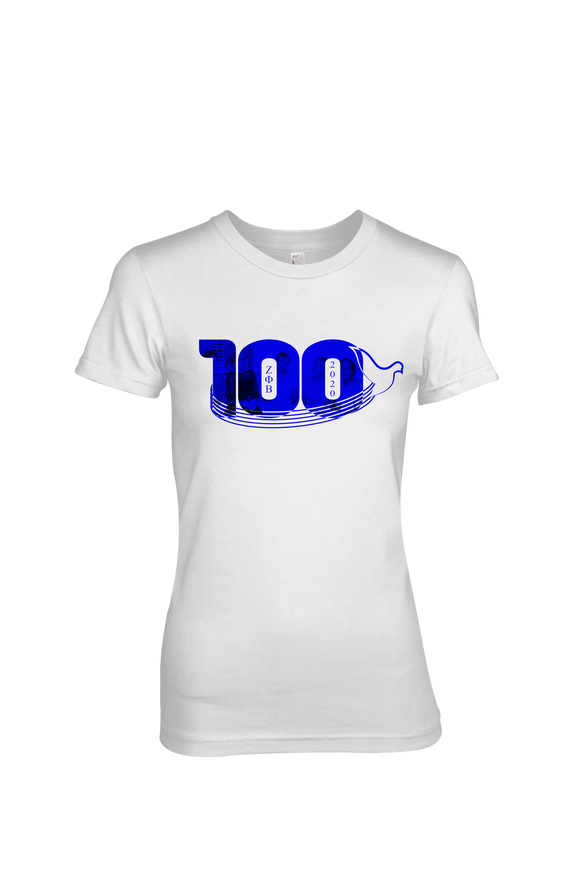 Zeta Phi Beta Centennial 100 Dovely Years T-Shirt (White)
