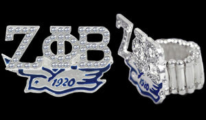 Zeta Phi Beta Stretchy Ring with Crystal Stones