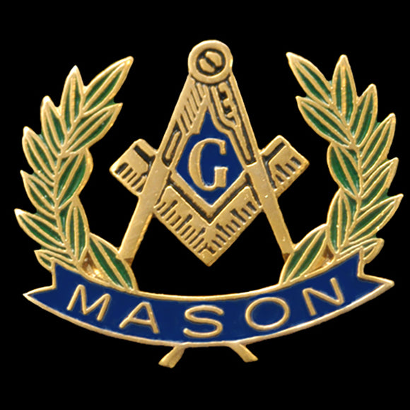 Mason Wreath Lapel Pin- 3/4