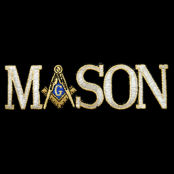 Mason Signature Logo Emblem W/Heat Seal Backing - Silver with Gold - 1 1/4