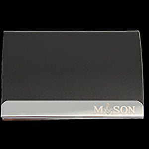 Mason Laser Engraved Business Card Holder - Stainless Steel With Black Leather