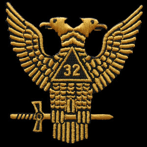 Mason 32nd Degree Wings Up Emblem W/Heat Seal Backing - 1 1/2""