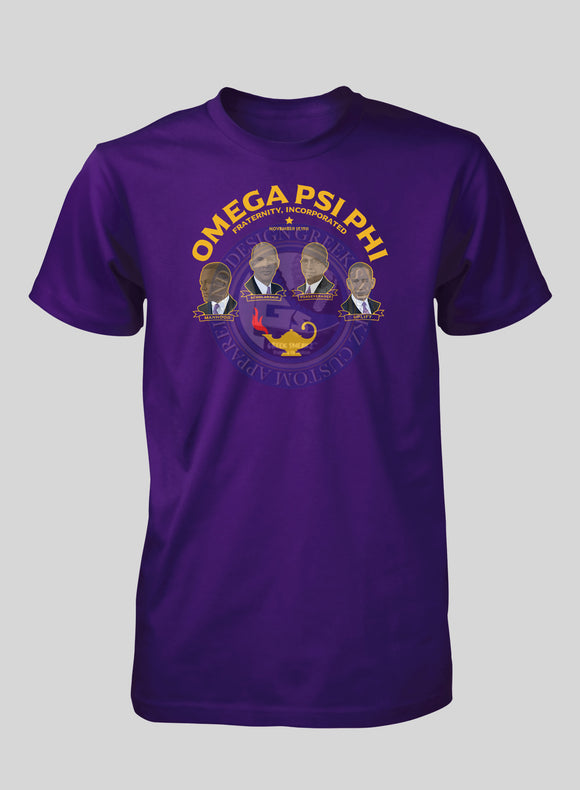 Omega Psi Phi Founders Gold Text T-Shirt