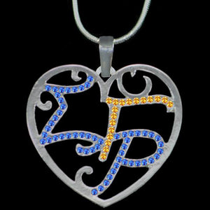 Sigma Gamma Rho Color Crystal Filigree Heart Necklace