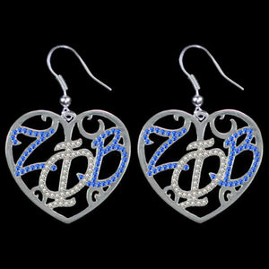ZPB Color Crystal Filigree Heart Earrings