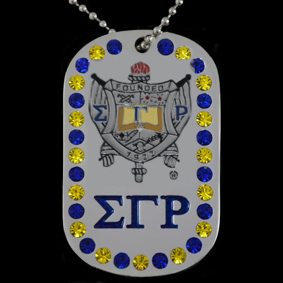 SGRHO Double Sided Bling Dog Tag Silver