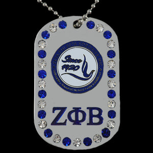 ZPB Double Sided Bling Dog Tag Silver