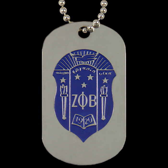 Zeta Phi Beta Silver Double-Sided Dog tag W/Chain