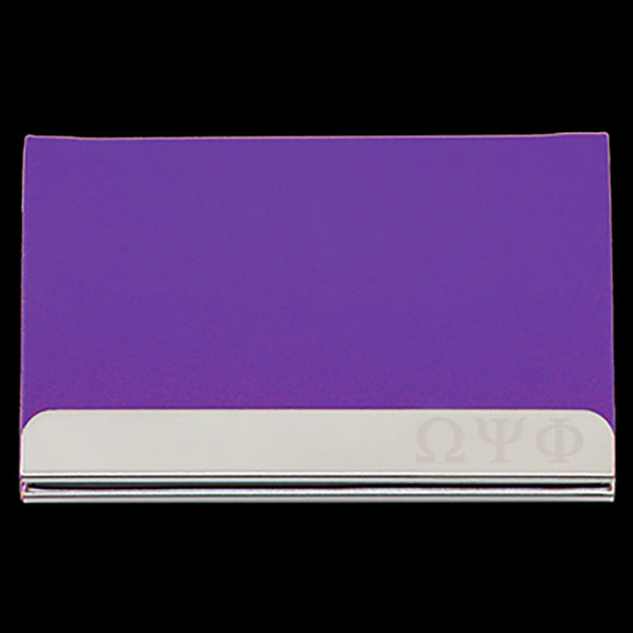OPP Laser Engraved Business Card Holder - Stainless Steel With Purple Leather
