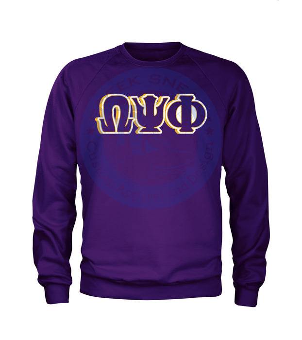 Omega Psi Phi Letters on Purple Long Sleeve T-Shirt