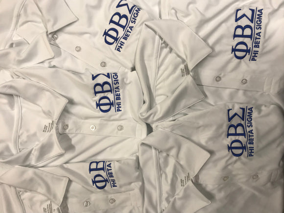 White Phi Beta Sigma Performance Polo $25 Special