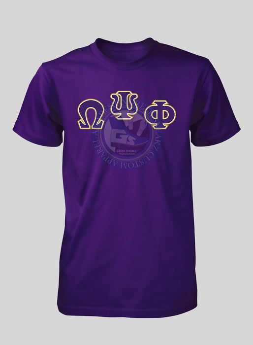 Omega Psi Phi Arched Letters