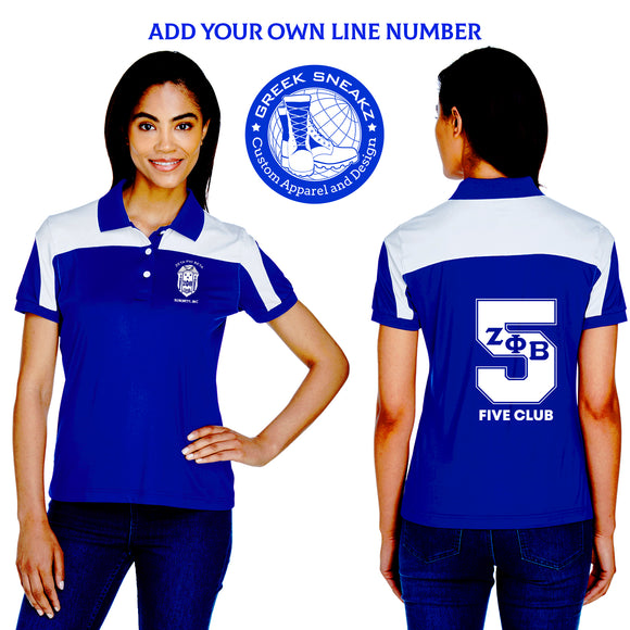 Zeta Phi Beta White Shield Polo (Number Addition)