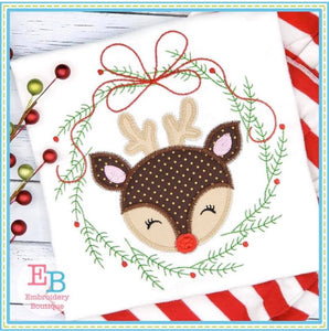 Christmas Wreath Deer with Bow