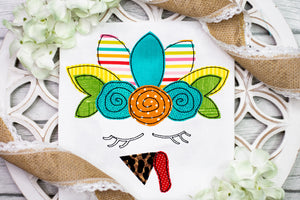 Fall Floral Turkey Applique