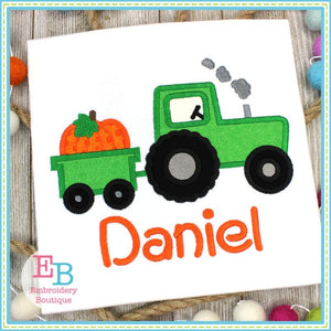 Tractor Pumpkin Appliqué T-shirt